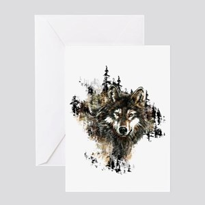 Watercolor Wolf Mountain Art Greeting Cards