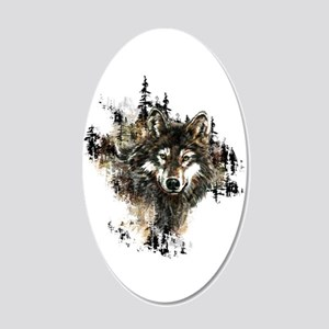 Watercolor Wolf Mountain Art 20x12 Oval Wall Decal