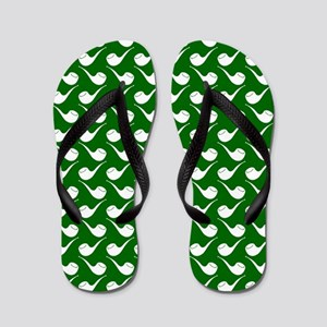 Green and White Hip Pipe Pattern Flip Flops