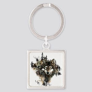 Watercolor Wolf Mountain Art Keychains