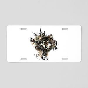 Watercolor Wolf Mountain Art Aluminum License Plat