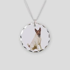 Fox Terrier (brwn-w) Necklace Circle Charm