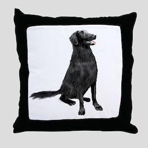 Flat Coated Retrvr (C) Throw Pillow