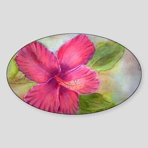 """""""Kauai Hibiscus"""" Oval Sticker"""