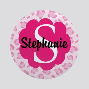 Personalized Pink Name Monogram Gift Ornament (Rou