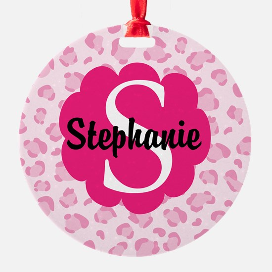 Personalized Pink Name Monogram Gift Ornament