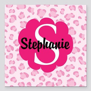 Personalized Pink Name Monogram Gift Square Car Ma