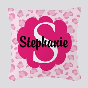 Personalized Pink Name Monogram Gift Woven Throw P