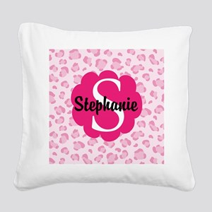 Personalized Pink Name Monogram Gift Square Canvas