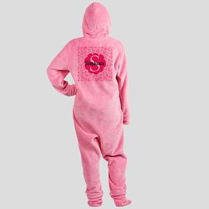 Personalized Pink Name Monogram Gift Footed Pajama