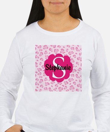 Personalized Pink Name Monogram Gift Long Sleeve T