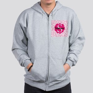 Personalized Pink Name Monogram Gift Zip Hoodie