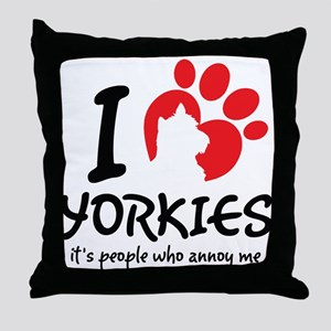 I Love Yorkies It's People Who Annoy Me Throw Pill