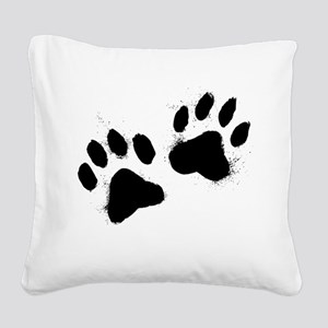Pair Of Black Paw Square Canvas Pillow