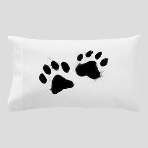 Pair Of Black Paw Pillow Case