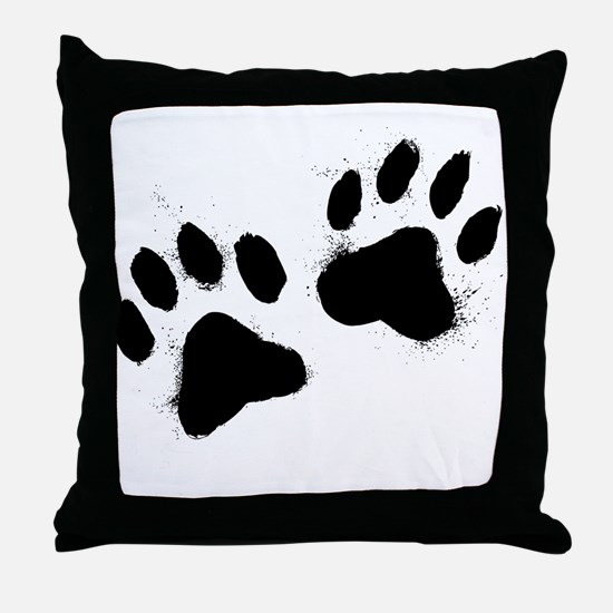 Pair Of Black Paw Throw Pillow