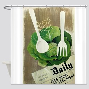 Eat Greens; Vintage Art Poster Shower Curtain