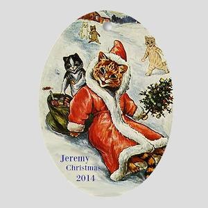 Personalized Victorian Santa Cat Ornament (oval)