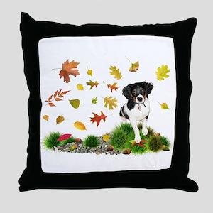 Fall Puppy Throw Pillow
