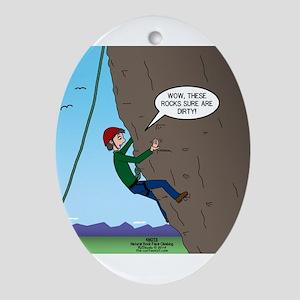 Natural Rock Face Climbing Ornament (Oval)