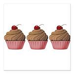 Cute Pink and Brown Cupcake Square Car Magnet 3