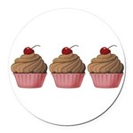 Cute Pink and Brown Cupcake Round Car Magnet