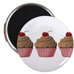 Cute Pink and Brown Cupcake Magnets