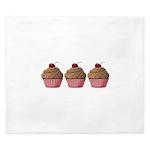 Cute Pink and Brown Cupcake King Duvet