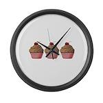 Cute Pink and Brown Cupcake Large Wall Clock