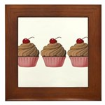 Cute Pink and Brown Cupcake Framed Tile
