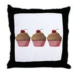 Cute Pink and Brown Cupcake Throw Pillow