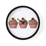 Cute Pink and Brown Cupcake Wall Clock
