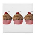 Cute Pink and Brown Cupcake Tile Coaster