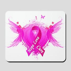 Pink Ribbon Wings Mousepad