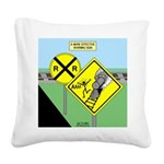 rail road crossing Square Canvas Pillow