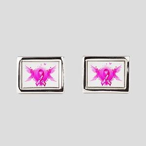 Pink Ribbon Wings Rectangular Cufflinks