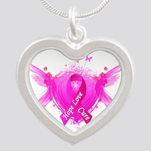 Pink Ribbon Wings Silver Heart Necklace