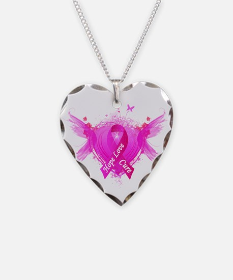 Pink Ribbon Wings Necklace