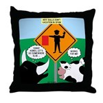 Bullfighter Warning Throw Pillow