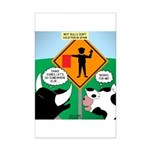 Bullfighter Warning Mini Poster Print