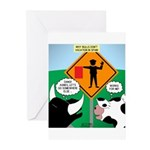 Bullfighter Warning Greeting Cards (Pk of 10)