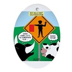 Bullfighter Warning Ornament (Oval)