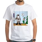 Santa in Camouflage White T-Shirt