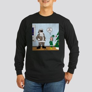 Santa in Camouflage Long Sleeve Dark T-Shirt