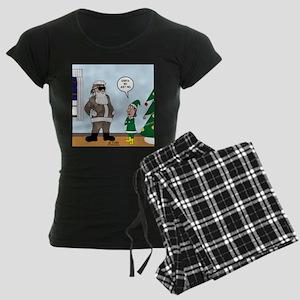 Santa in Camouflage Women's Dark Pajamas