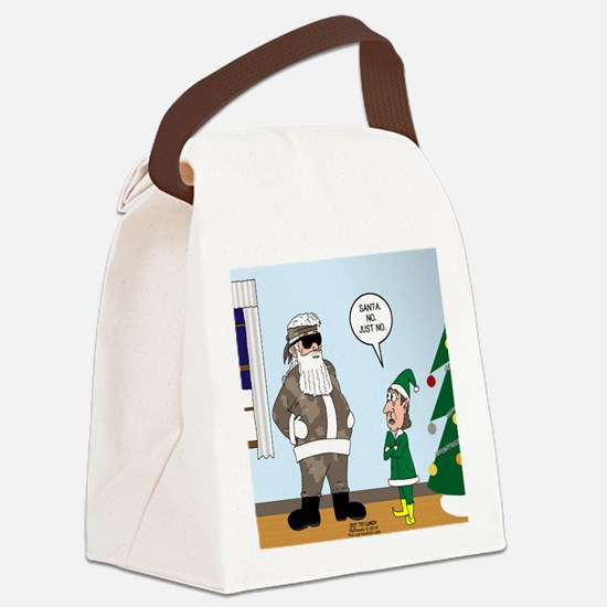 Santa in Camouflage Canvas Lunch Bag