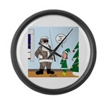 Santa in Camouflage Large Wall Clock