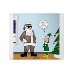 Santa in Camouflage Throw Blanket