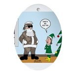 Santa in Camouflage Ornament (Oval)