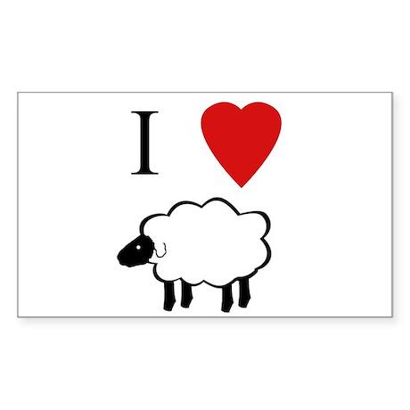 I Heart Sheep Sticker (Rect.)